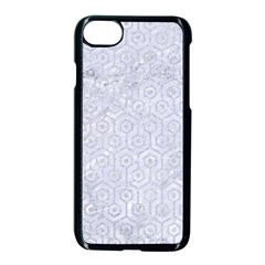 Hexagon1 White Marble & Silver Glitter (r) Apple Iphone 8 Seamless Case (black) by trendistuff