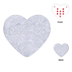 Damask2 White Marble & Silver Glitter (r) Playing Cards (heart)  by trendistuff