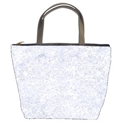 Damask2 White Marble & Silver Glitter (r) Bucket Bags by trendistuff