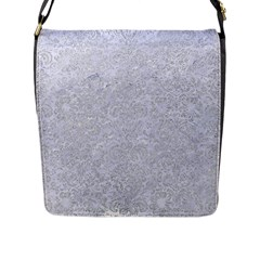 Damask2 White Marble & Silver Glitter (r) Flap Messenger Bag (l)