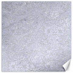 Damask2 White Marble & Silver Glitter Canvas 16  X 16   by trendistuff