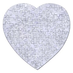 Damask1 White Marble & Silver Glitter (r) Jigsaw Puzzle (heart) by trendistuff