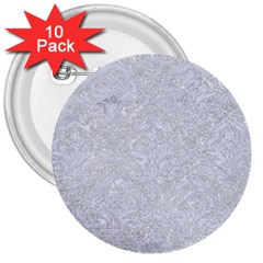 Damask1 White Marble & Silver Glitter 3  Buttons (10 Pack)  by trendistuff