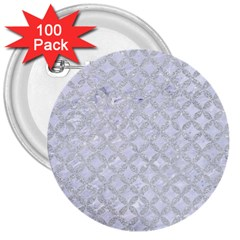 Circles3 White Marble & Silver Glitter (r) 3  Buttons (100 Pack)  by trendistuff
