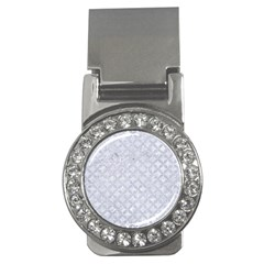 Circles3 White Marble & Silver Glitter (r) Money Clips (cz)  by trendistuff