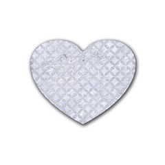 Circles3 White Marble & Silver Glitter (r) Heart Coaster (4 Pack)  by trendistuff