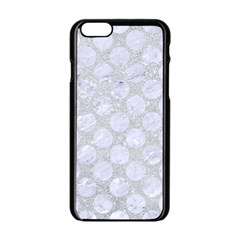 Circles2 White Marble & Silver Glitter Apple Iphone 6/6s Black Enamel Case by trendistuff