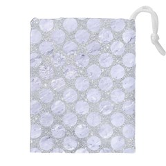Circles2 White Marble & Silver Glitter Drawstring Pouches (xxl) by trendistuff