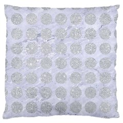 Circles1 White Marble & Silver Glitter (r) Large Flano Cushion Case (one Side) by trendistuff