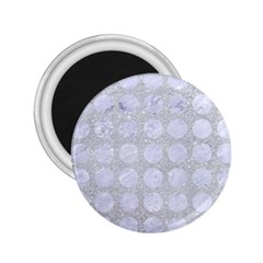 Circles1 White Marble & Silver Glitter 2 25  Magnets by trendistuff