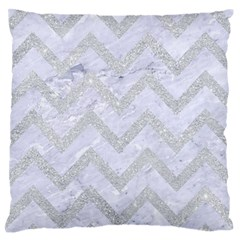 Chevron9 White Marble & Silver Glitter (r) Large Flano Cushion Case (two Sides)