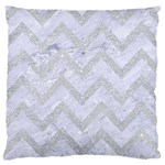 CHEVRON9 WHITE MARBLE & SILVER GLITTER (R) Large Flano Cushion Case (Two Sides) Back