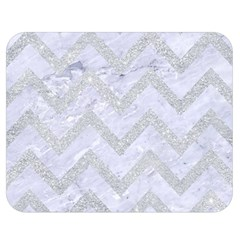 Chevron9 White Marble & Silver Glitter (r) Double Sided Flano Blanket (medium)  by trendistuff
