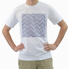 Chevron9 White Marble & Silver Glitter Men s T Shirt (white) (two Sided)