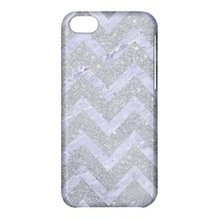 Chevron9 White Marble & Silver Glitter Apple Iphone 5c Hardshell Case by trendistuff