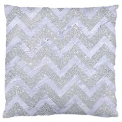 Chevron9 White Marble & Silver Glitter Standard Flano Cushion Case (one Side) by trendistuff