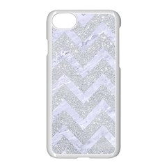 Chevron9 White Marble & Silver Glitter Apple Iphone 7 Seamless Case (white) by trendistuff
