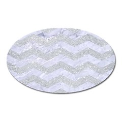 Chevron3 White Marble & Silver Glitter Oval Magnet by trendistuff