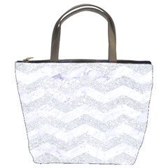 Chevron3 White Marble & Silver Glitter Bucket Bags by trendistuff