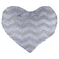 Chevron3 White Marble & Silver Glitter Large 19  Premium Heart Shape Cushions by trendistuff