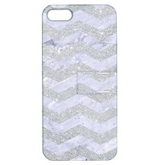 Chevron3 White Marble & Silver Glitter Apple Iphone 5 Hardshell Case With Stand by trendistuff