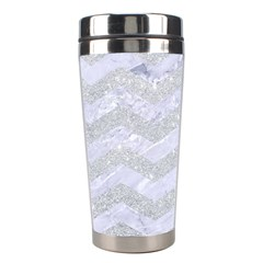 Chevron3 White Marble & Silver Glitter Stainless Steel Travel Tumblers by trendistuff