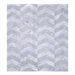 Chevron2 White Marble & Silver Glitter Shower Curtain 66  X 72  (large)  by trendistuff