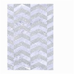 Chevron2 White Marble & Silver Glitter Small Garden Flag (two Sides) by trendistuff