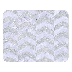 Chevron2 White Marble & Silver Glitter Double Sided Flano Blanket (large)  by trendistuff