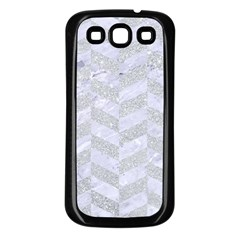Chevron1 White Marble & Silver Glitter Samsung Galaxy S3 Back Case (black) by trendistuff