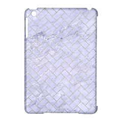 Brick2 White Marble & Silver Glitter (r) Apple Ipad Mini Hardshell Case (compatible With Smart Cover) by trendistuff