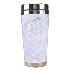 Brick2 White Marble & Silver Glitter (r) Stainless Steel Travel Tumblers by trendistuff