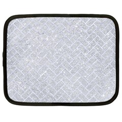 Brick2 White Marble & Silver Glitter Netbook Case (large) by trendistuff