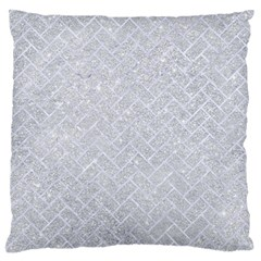 Brick2 White Marble & Silver Glitter Large Flano Cushion Case (one Side) by trendistuff