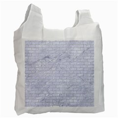 Brick1 White Marble & Silver Glitter (r) Recycle Bag (two Side)  by trendistuff