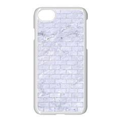Brick1 White Marble & Silver Glitter (r) Apple Iphone 7 Seamless Case (white) by trendistuff