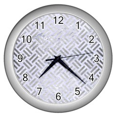 Woven2 White Marble & Silver Brushed Metal (r) Wall Clocks (silver)  by trendistuff