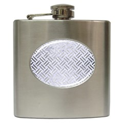 Woven2 White Marble & Silver Brushed Metal (r) Hip Flask (6 Oz) by trendistuff