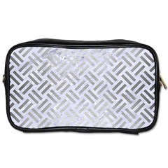 Woven2 White Marble & Silver Brushed Metal (r) Toiletries Bags 2 Side by trendistuff