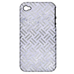 Woven2 White Marble & Silver Brushed Metal (r) Apple Iphone 4/4s Hardshell Case (pc+silicone) by trendistuff