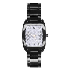 Woven2 White Marble & Silver Brushed Metal (r) Stainless Steel Barrel Watch by trendistuff