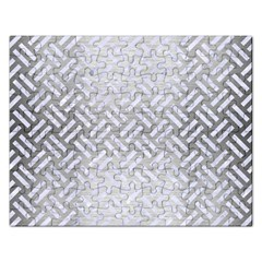 Woven2 White Marble & Silver Brushed Metal Rectangular Jigsaw Puzzl by trendistuff