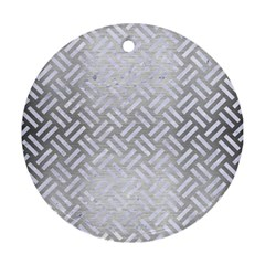 Woven2 White Marble & Silver Brushed Metal Round Ornament (two Sides) by trendistuff