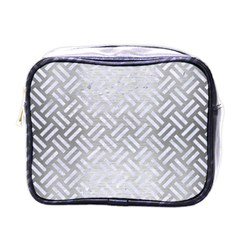 Woven2 White Marble & Silver Brushed Metal Mini Toiletries Bags by trendistuff