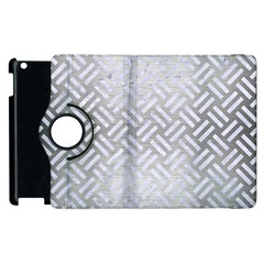 Woven2 White Marble & Silver Brushed Metal Apple Ipad 2 Flip 360 Case by trendistuff