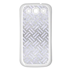 Woven2 White Marble & Silver Brushed Metal Samsung Galaxy S3 Back Case (white) by trendistuff