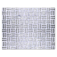 Woven1 White Marble & Silver Brushed Metal (r) Rectangular Jigsaw Puzzl by trendistuff