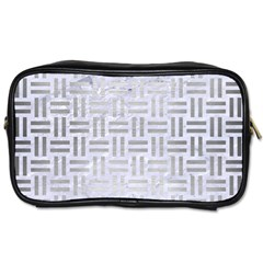 Woven1 White Marble & Silver Brushed Metal (r) Toiletries Bags by trendistuff