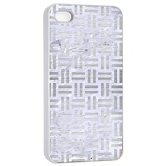 Woven1 White Marble & Silver Brushed Metal (r) Apple Iphone 4/4s Seamless Case (white) by trendistuff