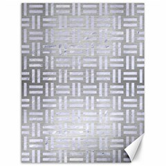 Woven1 White Marble & Silver Brushed Metal Canvas 12  X 16   by trendistuff
